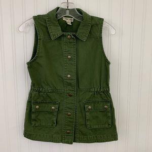 Cherokee Sleeveless Olive Utility Vest.  Sz 6-6x